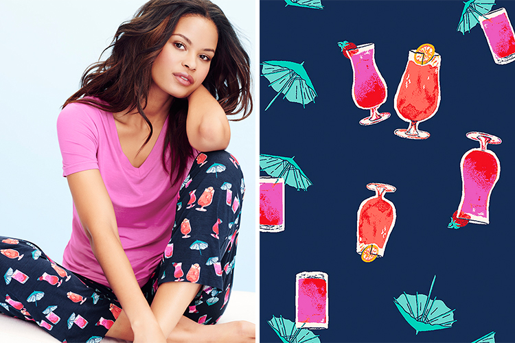 tropical drink-inspired print pajama set
